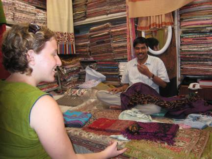 Shopping for shawls in the bazaar