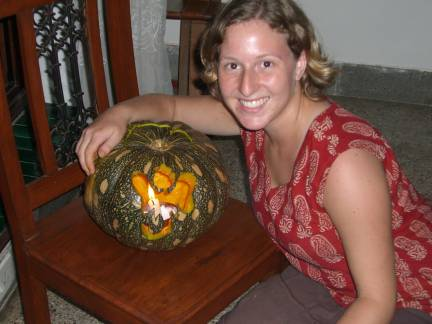 A Halloween pumpkin carved as Ganesh (the elephant god)